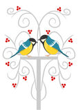 Two tits on the branch Stock Images
