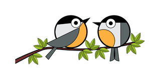 Two tits sitting on a tree branch Stock Image