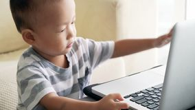 Child playing with laptop computer stock video