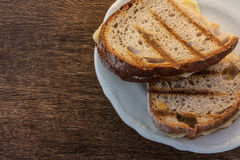 Two toast with cheese. Toasted cheese sandwiches on the grill, situated on a white plate Stock Photos