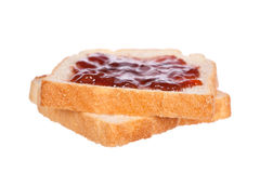 Two toast with strawberry jam Royalty Free Stock Image