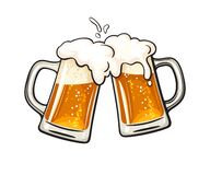 Free Two Toasting Beer Mugs, Cheers. Clinking Glass Tankards Full Of Beer And Splashed Foam Stock Photo - 186430510