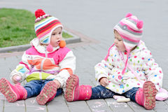 Two toddler girls Royalty Free Stock Image