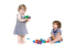 Two toddler girls playing Royalty Free Stock Photography