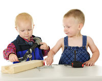 Two Toddler Playing Handyman Together Royalty Free Stock Images