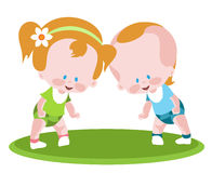 Two toddlers Stock Photo