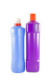 Two toilet cleaner bottle on white background Stock Photo