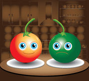 Two tomatoes. Lying on the kitchen table vector illustration