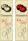 Two Tomatoes. Two Price Tags with Vintage Effect Stock Photo