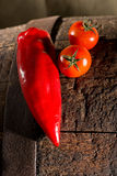 Two tomatoes and a capsicum Royalty Free Stock Photography