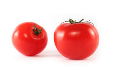 Two tomatoes isolated Royalty Free Stock Photos