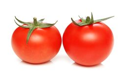 Two tomatoes isolated Stock Image