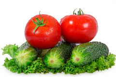 Two tomatoes and three cucumber Royalty Free Stock Images