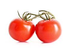 Two tomatos isolated Stock Photography