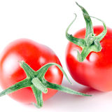 Two tomatos isolated before white stock images