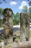 Two tombstones by the road Royalty Free Stock Images