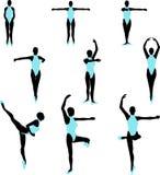 Two Tone Ballet Silhouettes Stock Image
