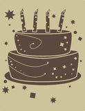 Two tone birthday cake. Brown birthday cake on a tan background stock illustration