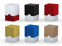Two tone blank square box packaging set with clipping path Royalty Free Stock Photos