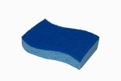 Two-tone blue sponge. A two-tone blue spongs isolated on a white background Royalty Free Stock Photography