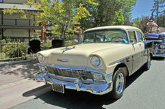 Two tone chevrolet. This nice looking 1956 Chevrolet sedan is one of the iconic cars of the 1950's Stock Images