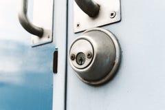 Two tone doors dark blue and light blue with steel handle door Stock Photos