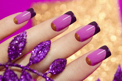 Two-tone French manicure. Two-tone French manicure pink and purple colors for brilliant background with decorative sheet stock photography