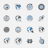 Two tone global and world sign icons set. vector.illustration. Royalty Free Stock Photos