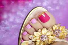 Two-tone pedicure. Royalty Free Stock Photo