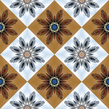 Two-tone seamless pattern with floral star and square ornament. Royalty Free Stock Photography