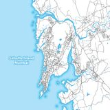 Two-toned map of the island of Salsette, Mumbai, India. With the largest highways, roads and surrounding islands and islets Royalty Free Stock Photography