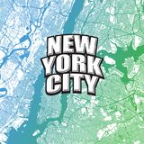 Two-toned map of New York City with Logo. Very detailled map without bridges and names. NYC logo grouped seperatly royalty free illustration