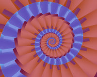 Two-toned Nautilus. Abstract fractal nautilus in complementary coral and blue Royalty Free Stock Photo