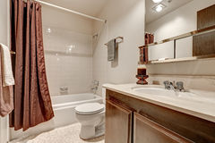 Two tones bathroom interior design in apartment Royalty Free Stock Images