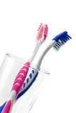 Two tooth brushes in glass Stock Photo