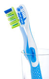 Two tooth brushes in glass Royalty Free Stock Photography