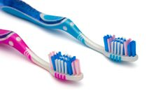 Two toothbrushes Stock Photo