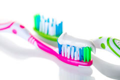 Two toothbrushes closeup Royalty Free Stock Image