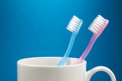 Two toothbrushes and a cup. (horizontal) Stock Photography