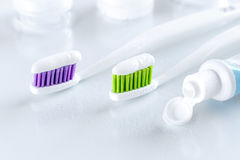 Two toothbrushes on white background Royalty Free Stock Photography