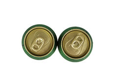 Two top can of beer. View from the two top can of beer isolated on white Stock Photo