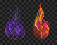 Two torches in red and blue gas flame set Stock vector Royalty Free Stock Photos