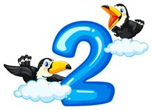 Two toucan and number two vector illustration