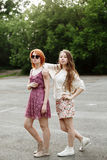 Two toung attractive girls posing Royalty Free Stock Images