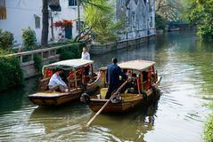 Two tourist boats at the canal of Suzhou. Two tourist boats at the canal, Suzhou, Jiangsu province, China Royalty Free Stock Image