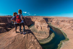 Two tourist enjoy Colorado river Royalty Free Stock Photo