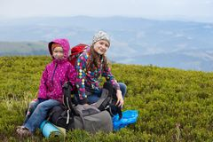 The two tourist girl. Two tourist girls and mountain views. Carpathians,  Ukraine. beautiful landscape stock images
