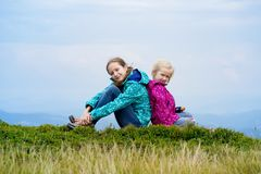 The two tourist girls. Two tourist girls and mountain views. Carpathians,  Ukraine. beautiful landscape stock photo