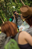 Two Tourist Girls Posing For Photo Stock Photo