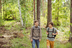 Two tourist talk and go through the woods with backpacks Stock Image